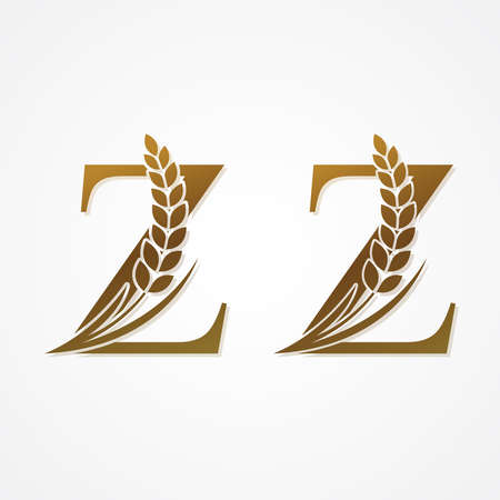 Gold Letter with Rice  for logo design vector.