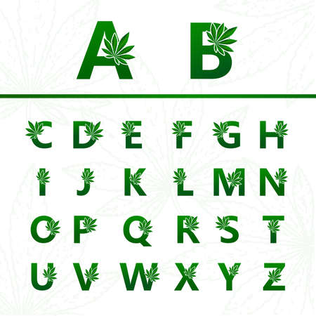 Set of premium cannabis plant letter for logo design vector.