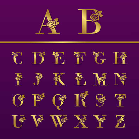 Set of gold Letter with Rose for fashion and beauty logo.