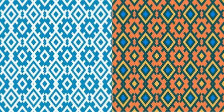 Seamless fabric pattern repeating design with geometric shapes.