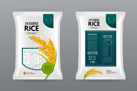 Premium Rice Product Package Mockup vector illustration 向量圖像