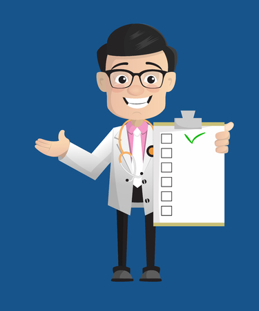 Cheerful Physiatrist Doctor Showing Medical Report List Vector Vector Illustration