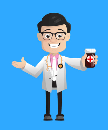 Happy Cartoon Pathologist Doctor Showing Pills Bottle Vector Illustration
