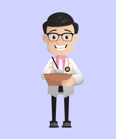 Happy Dermatologist Doctor with Notebook Vector 일러스트