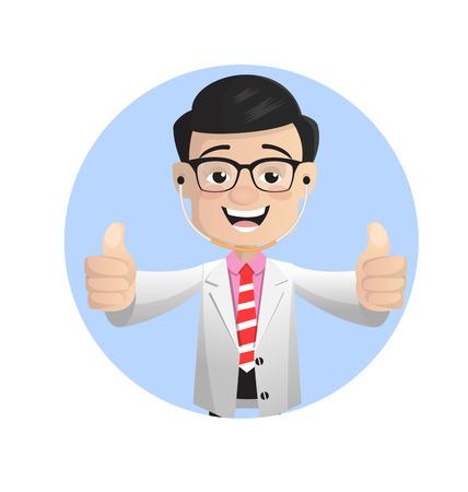 Happy Doctor Showing Thumbs Ups Vector