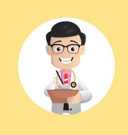 Cartoon Doctor Note Down Reports Vector Concept