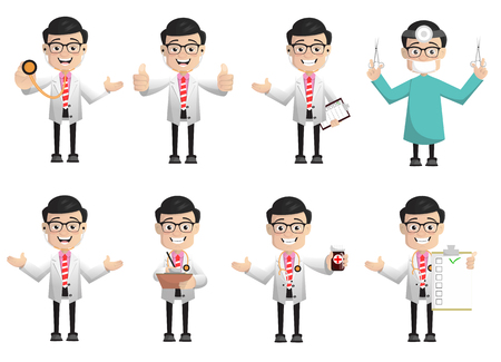 Various Poses and Gestures of Cartoon Doctor 일러스트
