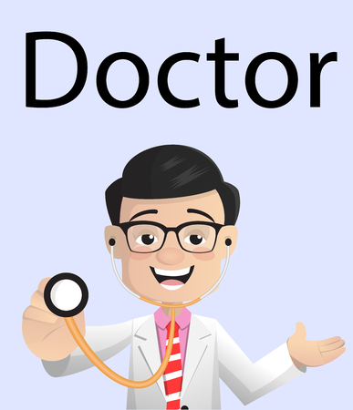 Cheerful Doctor with Stethoscope Vector