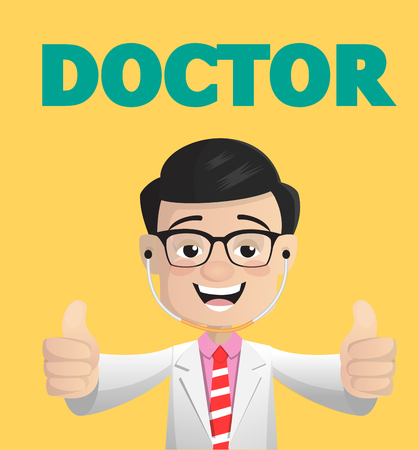 Doctor Showing Thumbs Ups for Motivation Vector Concept