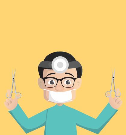 Cartoon Surgeon with Medical Tools Vector