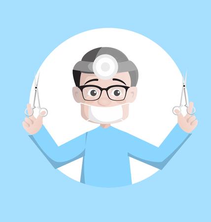 Cartoon Physiatrist in Operation Theater Vector
