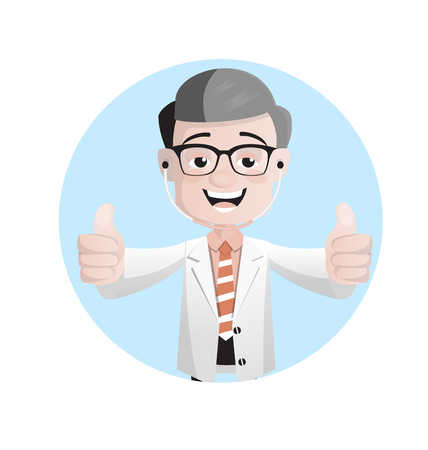 Joyful Pathologist Doctor Showing Thumbs Up Vector Illustration