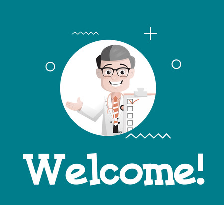 Cartoon Happy Doctor Doing Welcome Greeting Vector Illustration