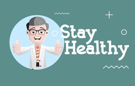 Happy Doctor Giving Stay Healthy Tips Vector 일러스트