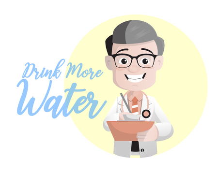 Cartoon Doctor Suggesting to Drink More Water Vector Concept Illustration