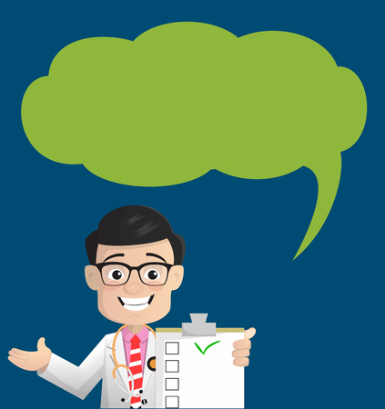 Happy Doctor with Checklist and Speech Bubble Vector
