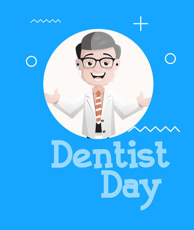 Happy Cartoon Dentist Cheerful Face Expression Vector