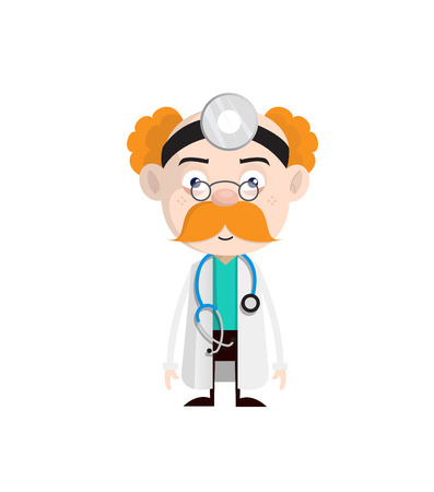 Cartoon Doctor Shocked Face Expression Vector 일러스트