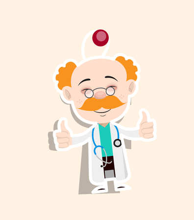 Doctor Showing Thumbs Up Sticker Vector