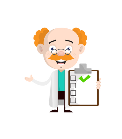 Cheerful Cardiologist Doctor Showing Good Medical Report Vector