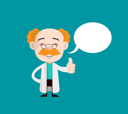 Happy Doctor Showing Thumbs Up with Speech Bubble Vector 일러스트