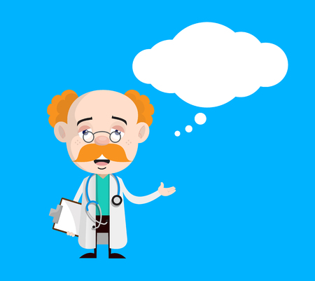 Upset Doctor Face with Thought Bubble Vector 일러스트