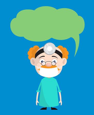 Cartoon Urologist Surgeon with Speech Bubble Vector