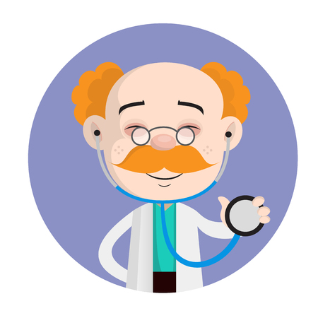 Smiling Doctor Holding a Stethosope Vector