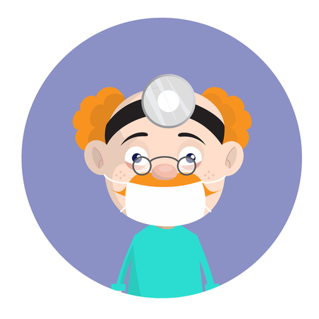 Cartoon Old Pathologist Surgeon with Face Mask and Spotlight Vector