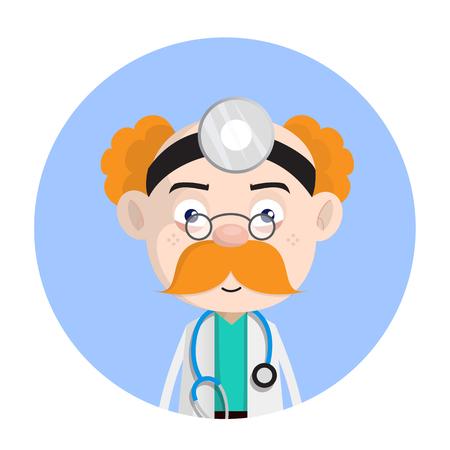Shocked Psychiatrist Doctor Face Expression Vector Illustration