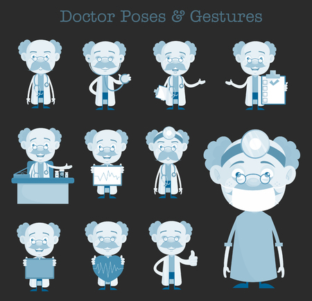 Comic Doctors Various Gestures and Concepts Vector Set