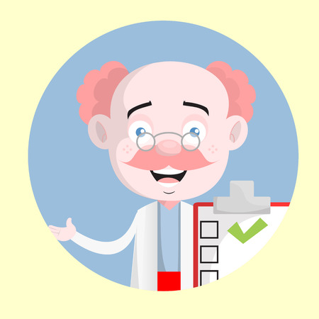 Excited Dermatologist with Checklist Report Vector 일러스트