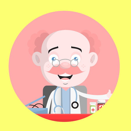 Clinic Doctor Laughing Face Vector Illustration