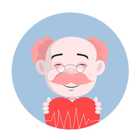 Funny Doctor Laughing Face with Heart Vector