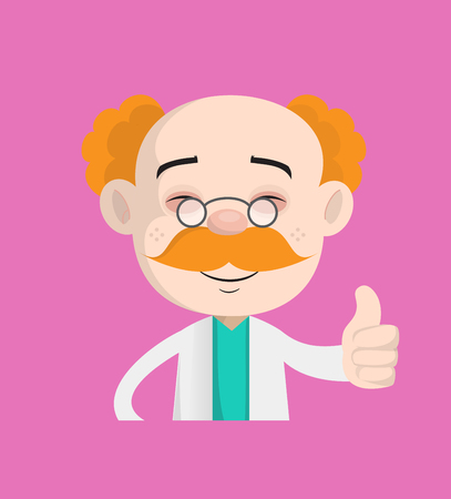 Smiling Adult Doctor Showing Thumbs Up Vector