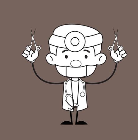 Cartoon Dentist with Scissors Tools Vector