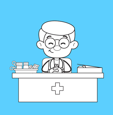 Smiling Doctor in Clinic with Medical Equipments Vector Vector Illustration