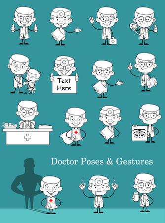 Set of Cartoon Medical Doctors Concepts Vector
