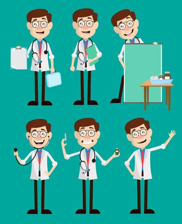 Cartoon Young Doctors Many Concepts Vector