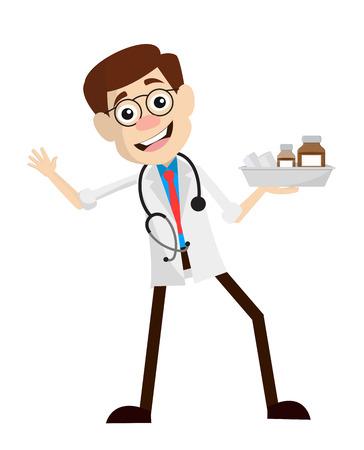 Funny Happy Doctor with Medicines Vector 일러스트