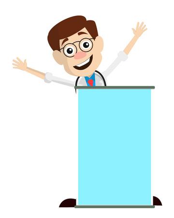 Joyful Medical Doctor with Blank Banner Vector