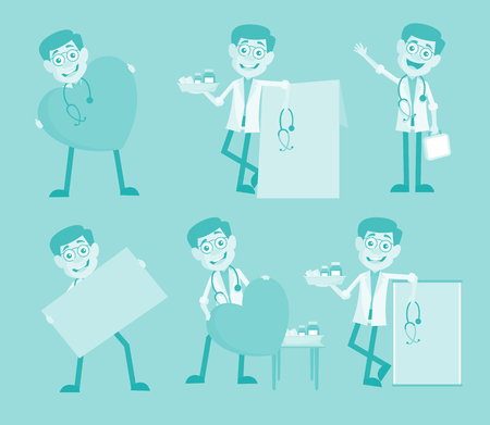 Cartoon Cardiologist Doctors Many Concepts Vector