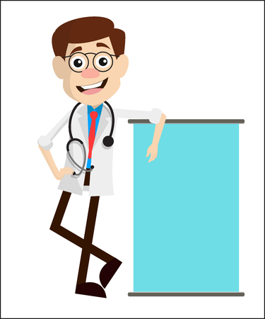 Happy Doctor with Ad Banner Vector 일러스트