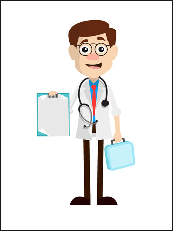 Young Cartoon Doctor Showing Notes Vector