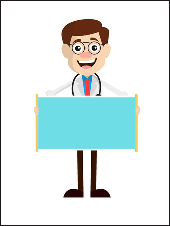 Excited Doctor with Blank Ad Banner Vector 일러스트