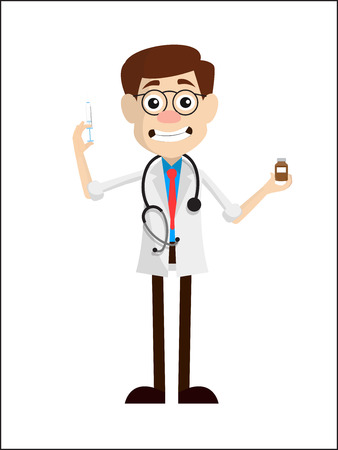 Grimacing Doctor with Injection and Medicine Vector