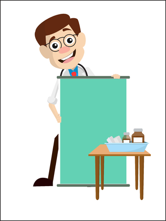 Cartoon Salesman Pathologist Doctor with Ad Banner Vector