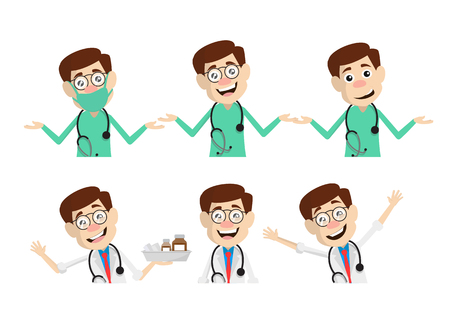 Various Doctor Poses and Gesture Vector Set