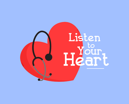 Listen to Your Heart Medical Vector Graphic Design Illustration