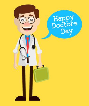Happy Doctor Day - Cartoon Happy Doctor Character Vector